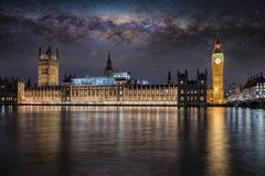 The Westminster Palace and Big Ben tower in London under the milkyway at night Stock Photography
