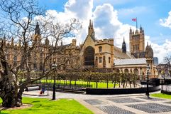 Westminster palace courtyard and Victoria tower, London, UK stock photos