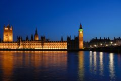 Westminster Palace at dusk Stock Photos