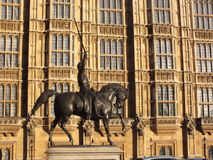 Westminster palace statue. Westminster palace  parliamet London, England Stock Photography