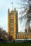Westminster Palace Tower. S view from Victorias Garden Royalty Free Stock Photo