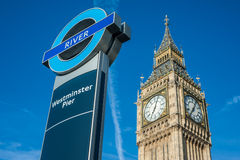 Westminster Pier ferry stop in London Royalty Free Stock Photos