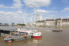 Westminster Pier and River Thames in London, UK Stock Image