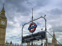 Westminster Public sunbway signboard. London Stock Images