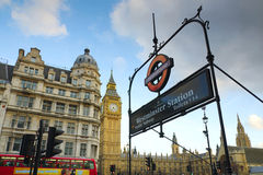Westminster sign and Big Ben Stock Photos