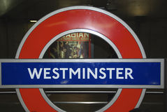 Westminster sign on London underground stock images