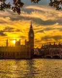 Westminster solnedgång Royaltyfri Bild