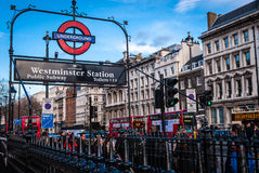 Westminster Station. For transport or London related articles Royalty Free Stock Photo