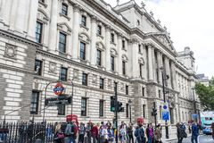 Westminster station and whitehall royalty free stock photo