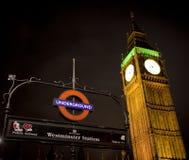 Westminster subterráneo Imágenes de archivo libres de regalías