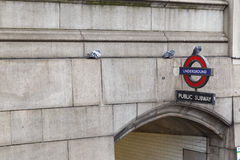 Westminster Tube Station and Public Subway sign. Royalty Free Stock Images