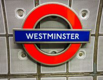 Westminster tube station roundel in London (hdr). LONDON, UK - CIRCA JUNE 2017: Westminster tube station roundel (high dynamic range Stock Photography