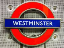 Westminster tube station roundel in London (hdr). LONDON, UK - CIRCA JUNE 2017: Westminster tube station roundel (high dynamic range Stock Images