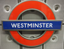 Westminster tube station roundel in London. LONDON, UK - CIRCA JUNE 2017: Westminster tube station roundel Stock Image