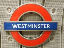 Westminster tunnelbanatecken Royaltyfri Fotografi