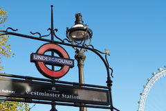 Westminster Underground Sign in London Stock Photography