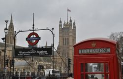 Westminster underground station sign House Parliament Stock Images
