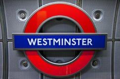 Westminster underjordisk station Royaltyfria Foton