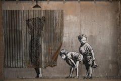 WESTON-SUPER-MARE, ВЕЛИКОБРИТАНИЯ - 21-ОЕ СЕНТЯБРЯ 2015: Dismaland, Banksy Стоковые Изображения RF