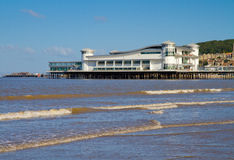 Weston-super-Mare. Sea front including the Old Pier to the left an the Grand Pier Stock Photo