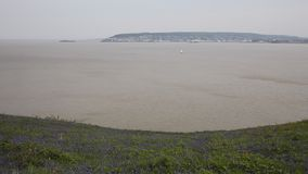 Weston-super-mare bay and bluebells Somerset England from Brean Down Stock Images