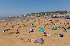 Weston-super-mare beach and seafront in beautiful sunshine and fine weather Stock Photo