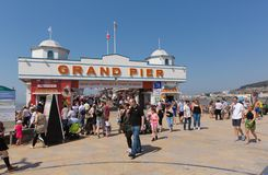 Weston-super-mare Grand Pier busy on the May bank holiday weekend Royalty Free Stock Image