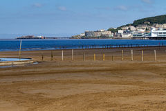 Weston-super-Mare sea front. From the direction of the Grand Pier to Knightstone Island Stock Photo