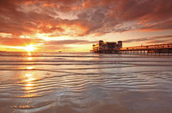 Weston Super Mare, Somerset, famous pier. Somerset, England, Weston Super Mare at sunset stock photos