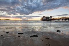 Weston Super Mare, Somerset, famous pier. Somerset, England, Weston Super Mare at sunset stock image