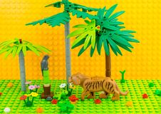 Weston-super-Mare UK. February. Lego tiger parrot palm . Lego minifigures are manufactured by The Lego Group.