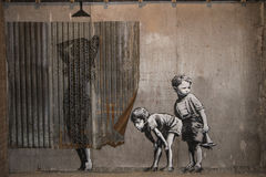 WESTON-SUPER-MARE, UK - SEPTEMBER 21, 2015: Dismaland, Banksy Royalty Free Stock Images