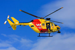 Westpac Rescue Helicopter, Sydney, Australia. Westpac Rescue helicopter hovering above Royalty Free Stock Image