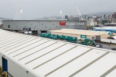 Westpac Stadium, Wellington, Nova Zelândia, como visto das docas imagem de stock