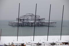 Westpier im Schnee Lizenzfreie Stockfotografie