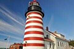 WestQuoddy Hauptleuchtturm, Maine (USA) Lizenzfreies Stockfoto