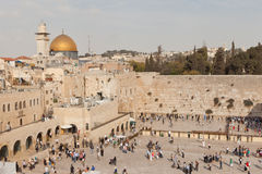 The westren wall and dome of the rock Stock Photos