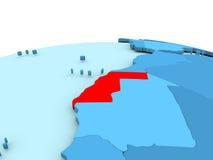 Westsahara auf blauer Kugel Lizenzfreies Stockfoto