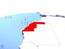 Westsahara auf Kugel Lizenzfreie Stockfotografie