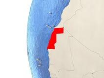 Westsahara auf Kugel 3D Stockbilder
