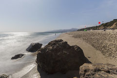 Westward Beach with Motion Blur Water at Point Dume in Malibu Ca Royalty Free Stock Photos
