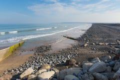 Westward Ho beach Devon England. Westward Ho Devon England.  Seaside village near Bideford, facing into Bideford Bay Royalty Free Stock Image