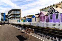 Westward Ho!. Beach huts at The beach resort of Westward Ho! in Devon , England, UK Royalty Free Stock Image