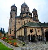 Westwork der Romanesque-Abtei Maria Laach Stockfotos