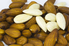 Wet almonds Royalty Free Stock Images