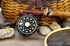 Wet antique fishing gear Stock Photo