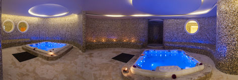 Wet area with jacuzzis in health spa Royalty Free Stock Images