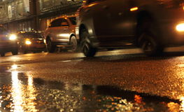 Wet asphalt evening Royalty Free Stock Photo