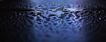 Wet asphalt, night scene of an empty street with a little reflection in the water royalty free stock image