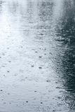 Wet asphalt with puddles and raindrops Royalty Free Stock Photography